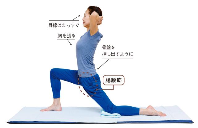 上半身が安定して腰痛軽減!「太もも付け根伸ばし体操」/腰ほぐし体操
