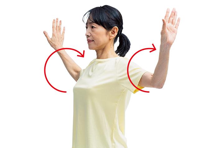 胸を開く、肩を動かす...上半身を動かして手指の痛みを防ぐ