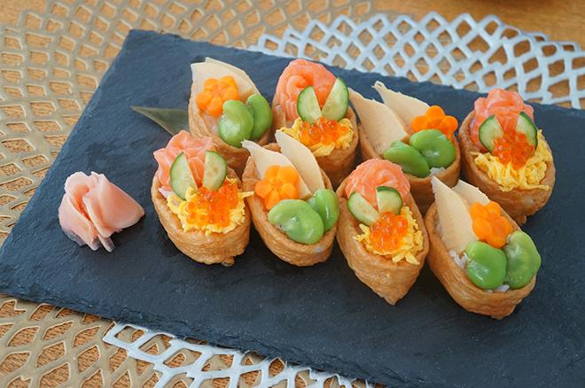 旬のごちそうたっぷり載せて!  酢しょうがで「オープンいなり寿司」を【作ってみた】/モモ母さん