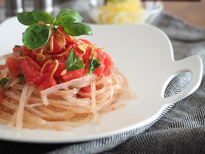 パツンと弾ける食感がくせになる♪ 糸寒天の冷製トマトパスタ風を【作ってみた】/joli!joli!