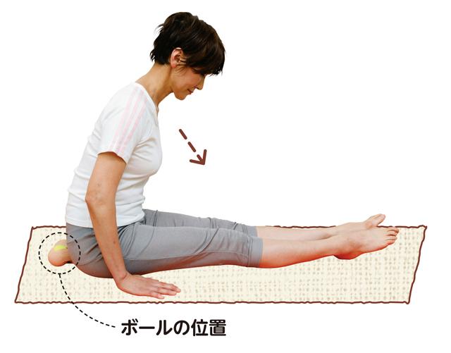 仙骨を前方へ押し込む!「前屈ボール体操」/腰椎分離症・すべり症を体操で治す!