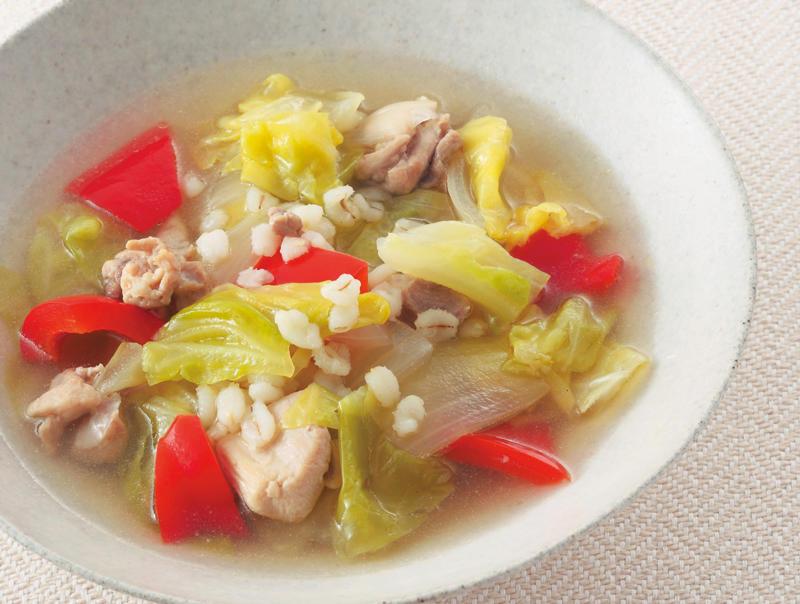 腸が喜ぶ大麦レシピ『大麦を使ったスープ』と『たっぷり麦の白あえ』