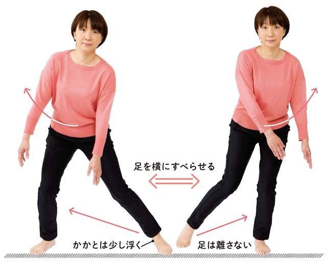足をスーッとすべらせて♪ 筋力アップで腰の負担を軽くする「スケート運動」