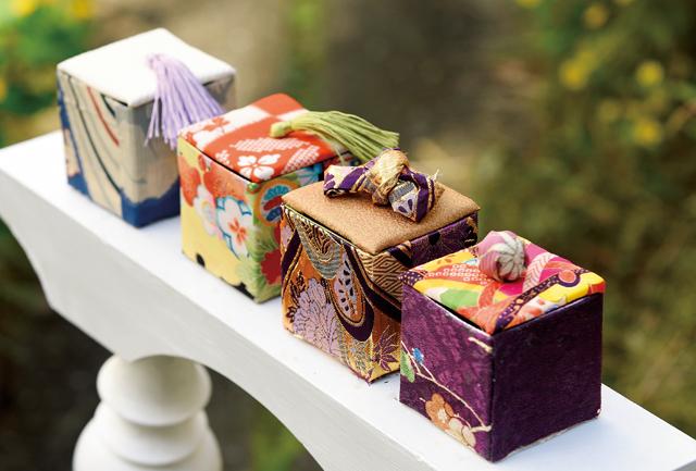 縫わずに貼るだけ!きもの地で色とりどりの小箱を作りましょう。端切れできものリフォーム