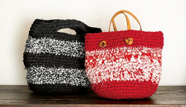 円筒形に編んでいけばバックができる! ジャンボかぎ針で「裂き編み」を楽しんでみて