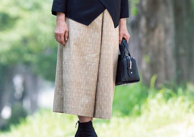 2通り楽しめる!オーバースカート付きキュロットパンツ/岡本孝子さんのシンプルきものリフォーム