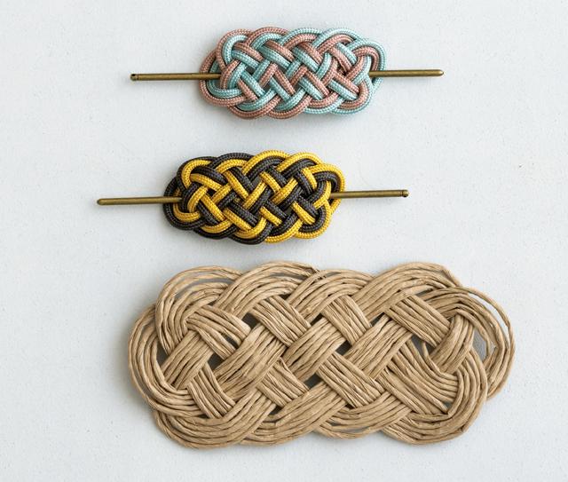 丸ひもの「髪飾り結び」で作る! カンタン「バレッタ」と「玄関マット」