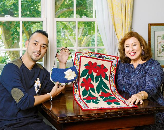 縁起のいい紅白の花をモチーフに。キャシー中島&洋輔親子が作る、お正月のキルト飾り