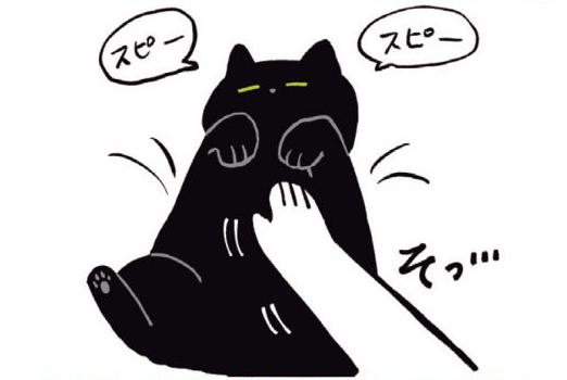 爆睡中の猫・ろんはもはや液体...!? 無抵抗、無警戒すぎる〜!!/黒猫ろんと暮らしたら