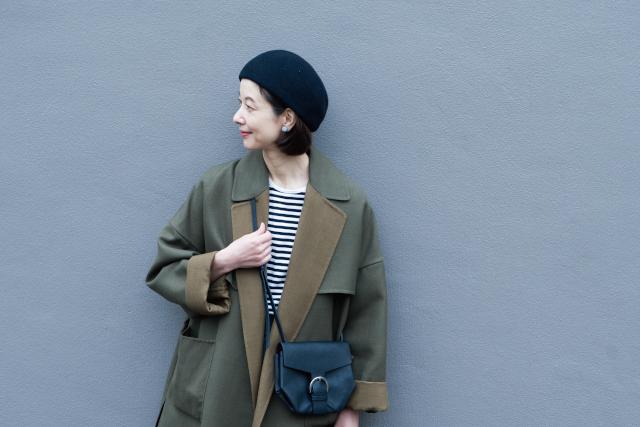 40代からのこなれたボーダーシャツの着こなし方。モデルの香菜子さん「大切なのは、それ1枚で着ないこと」