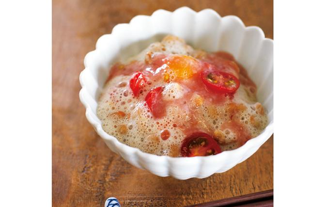 ミニトマト+納豆+甘酒! 腸活や美肌効果も期待できる「ふわふわサラダ納豆」レシピ